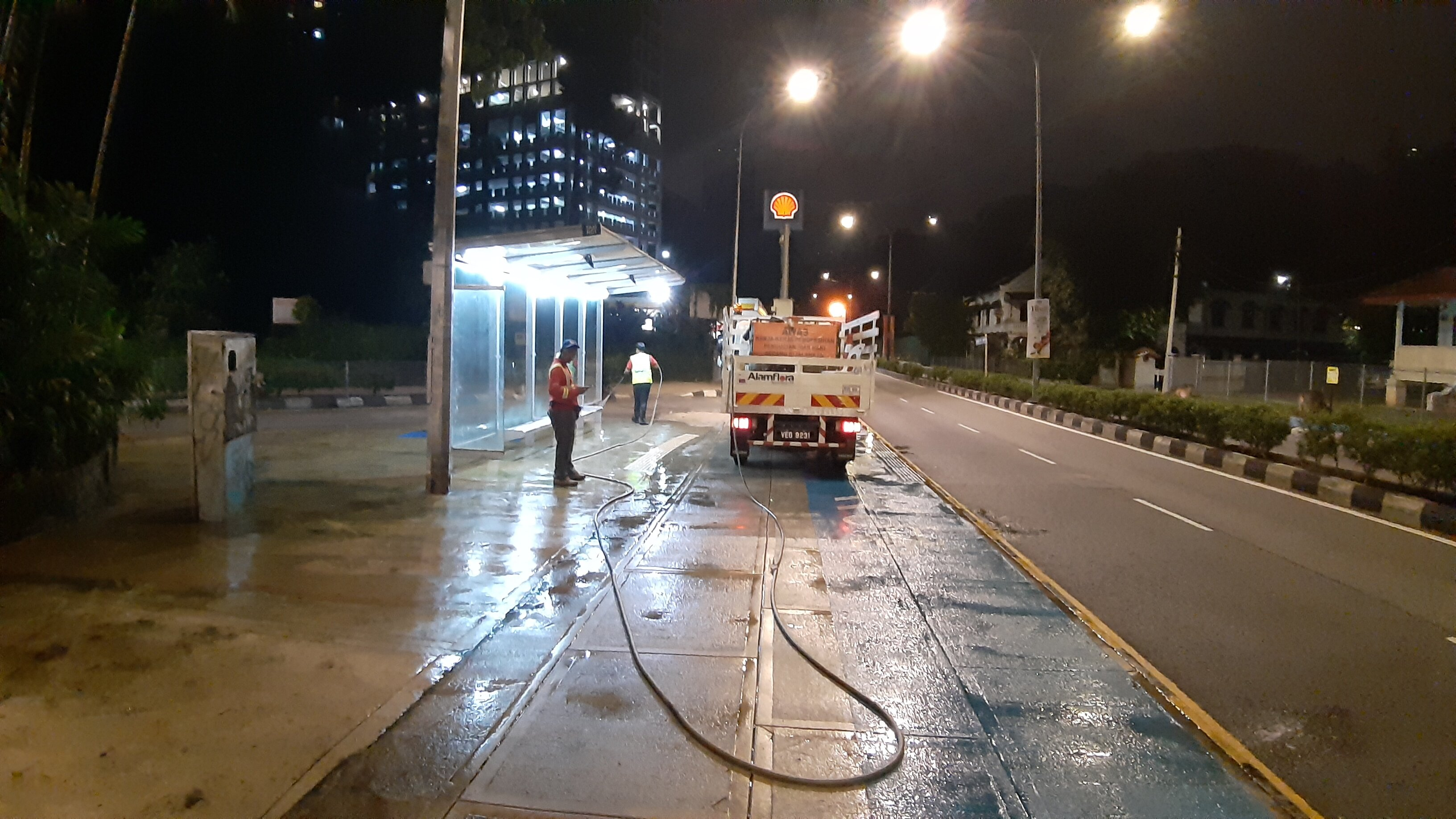 Trucks spraying water