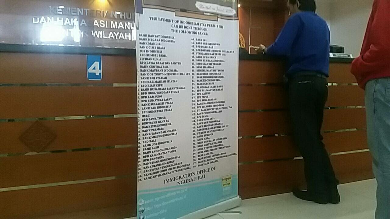 List of banks that the Immigration Office accepts transfer from.
