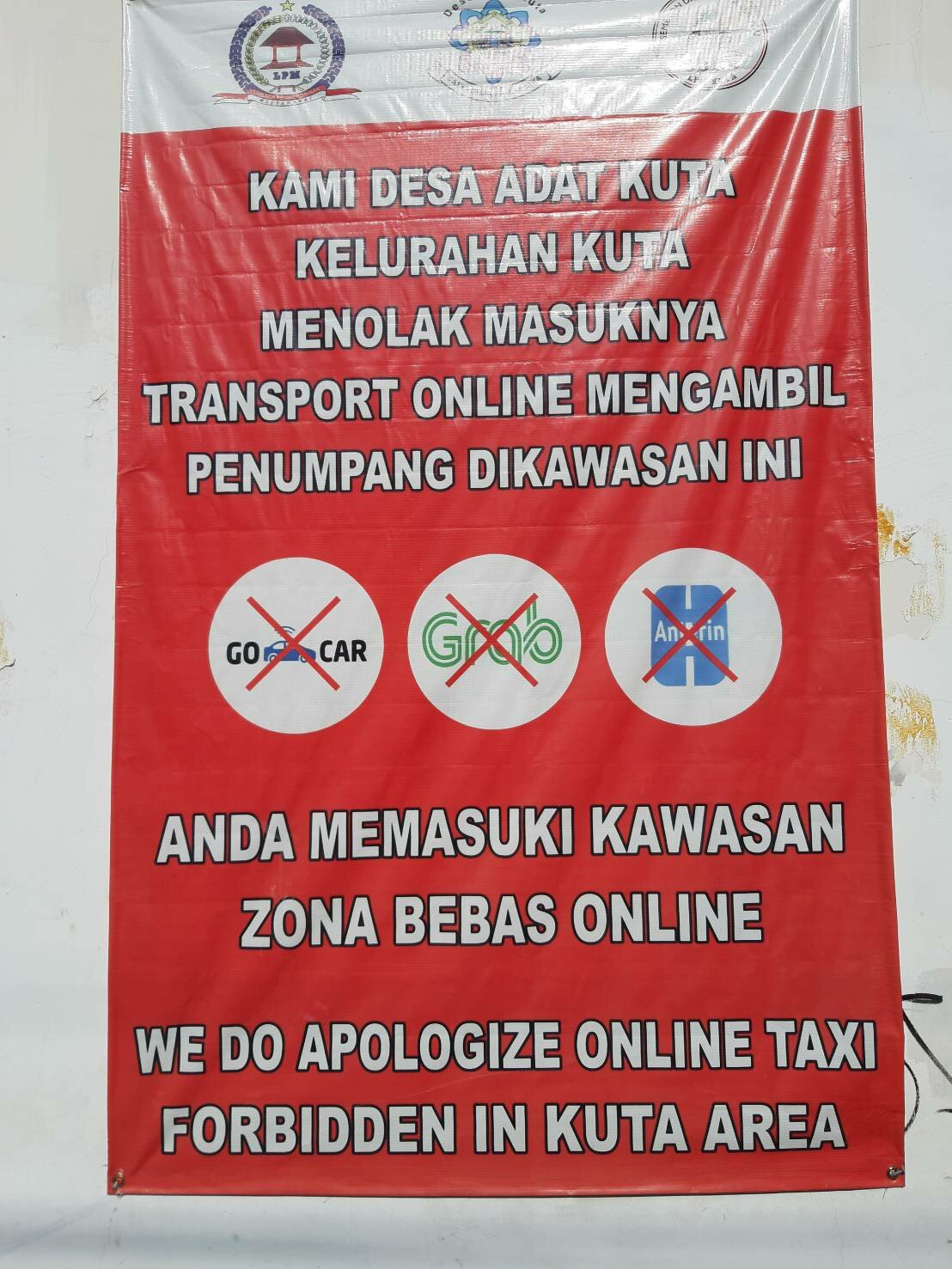 Taxis not allowed in Kuta.