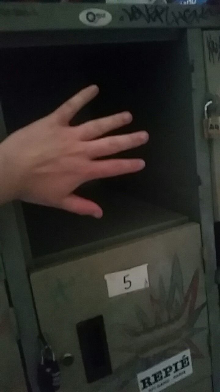Tiny locker with missing door at The Overstay.