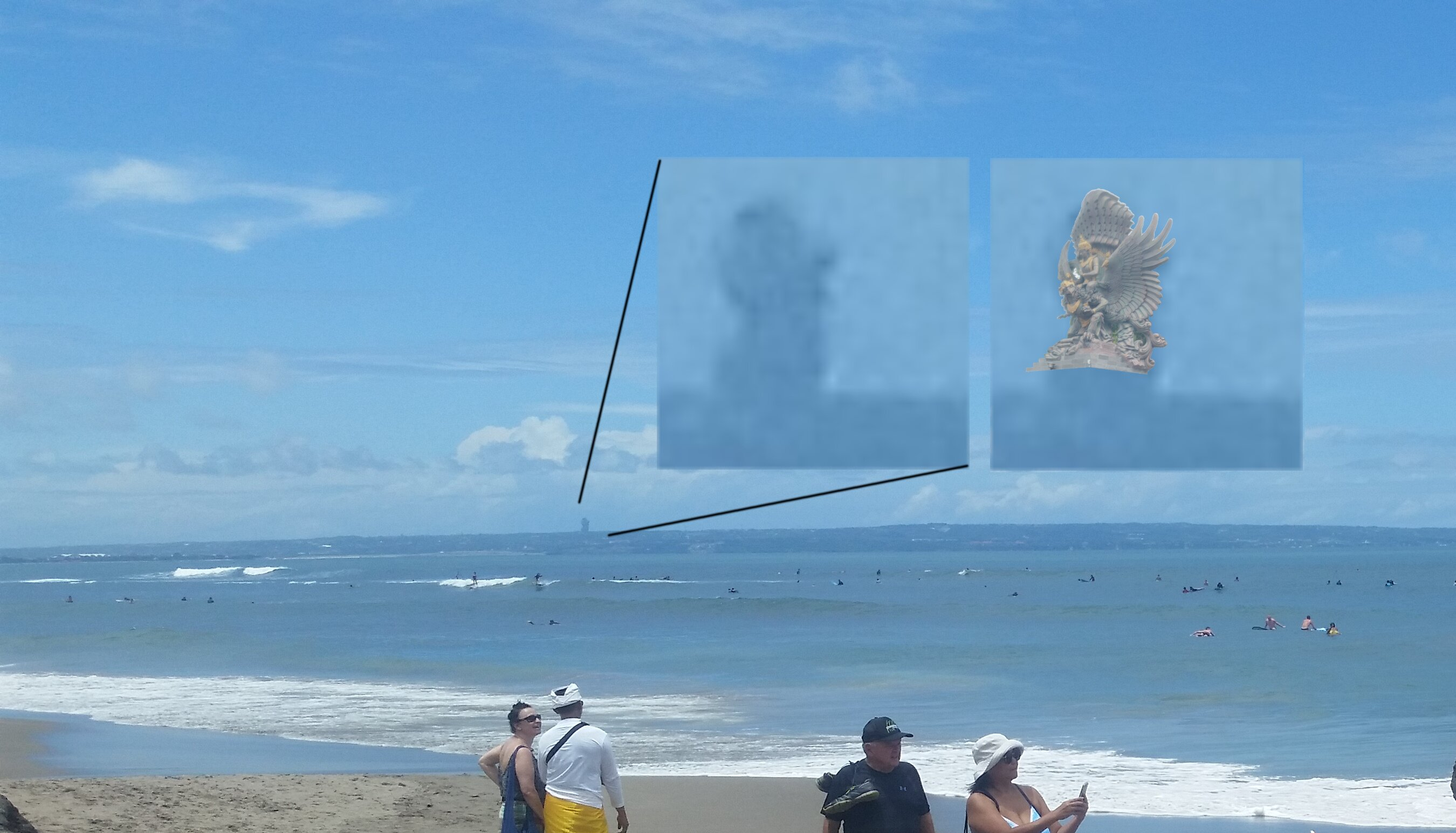 I zoomed and edited this picture for you so that you can get an idea of how GWK looks from Canggu.