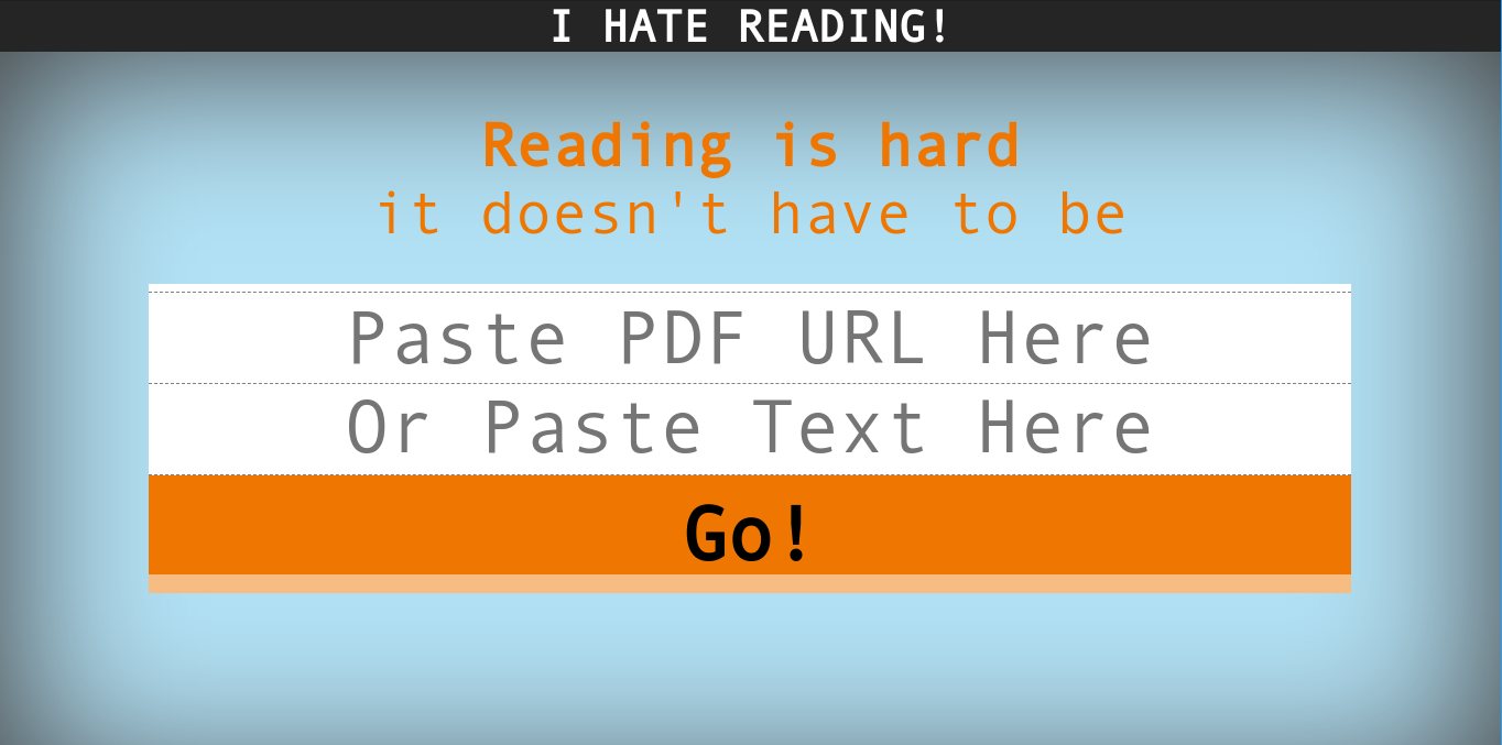 User Interface of I Hate Reading.