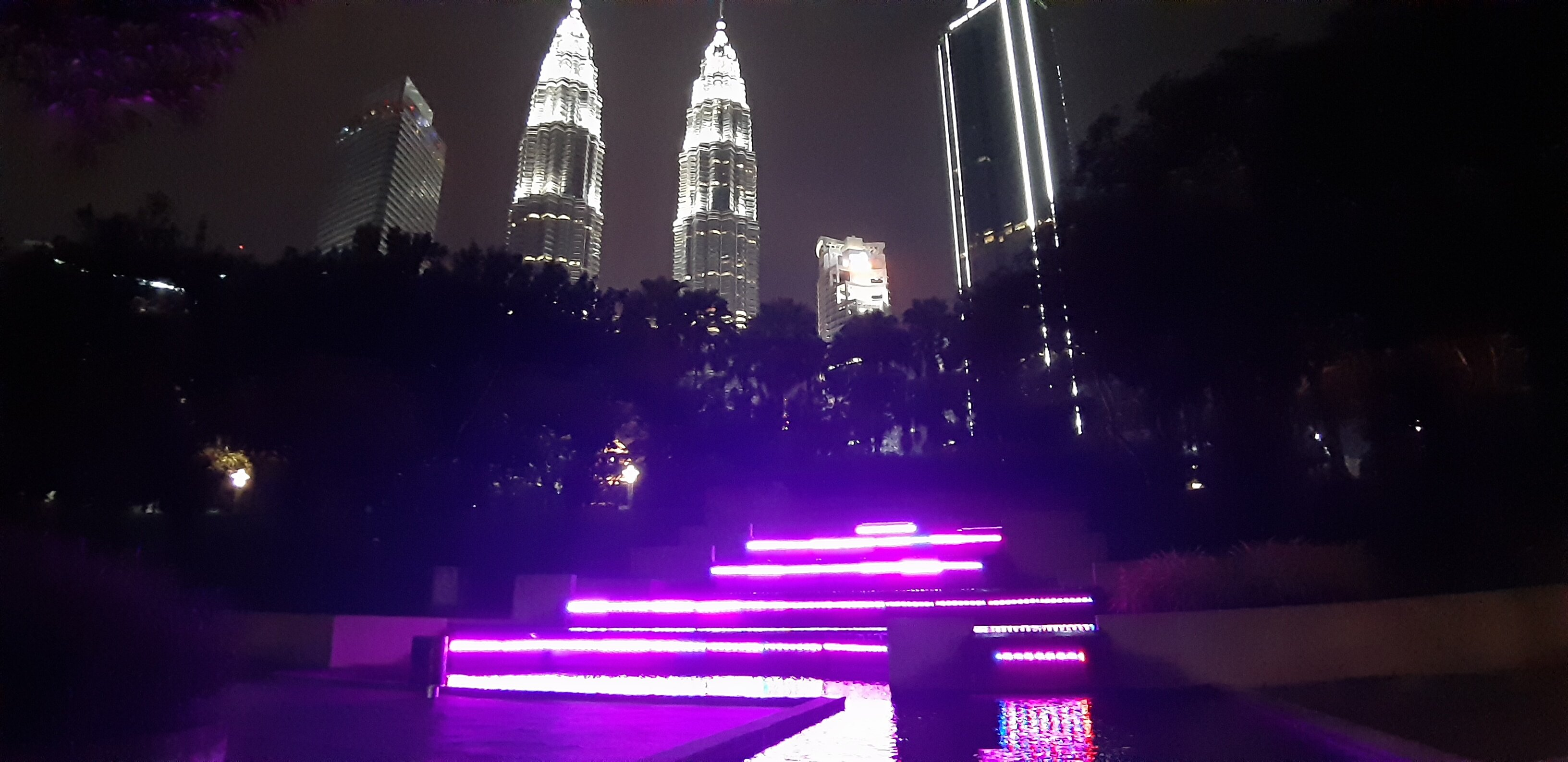 Petronas Towers from a section of KLCC park by the Kuala Lumpur Convention Center.