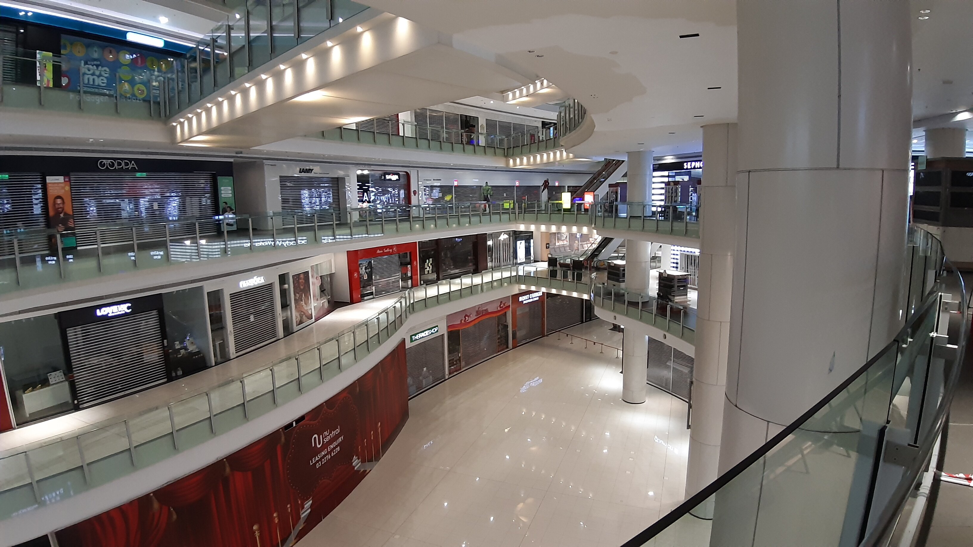 Deserted Nu Sentral Mall during Coronavirus Lockdown.