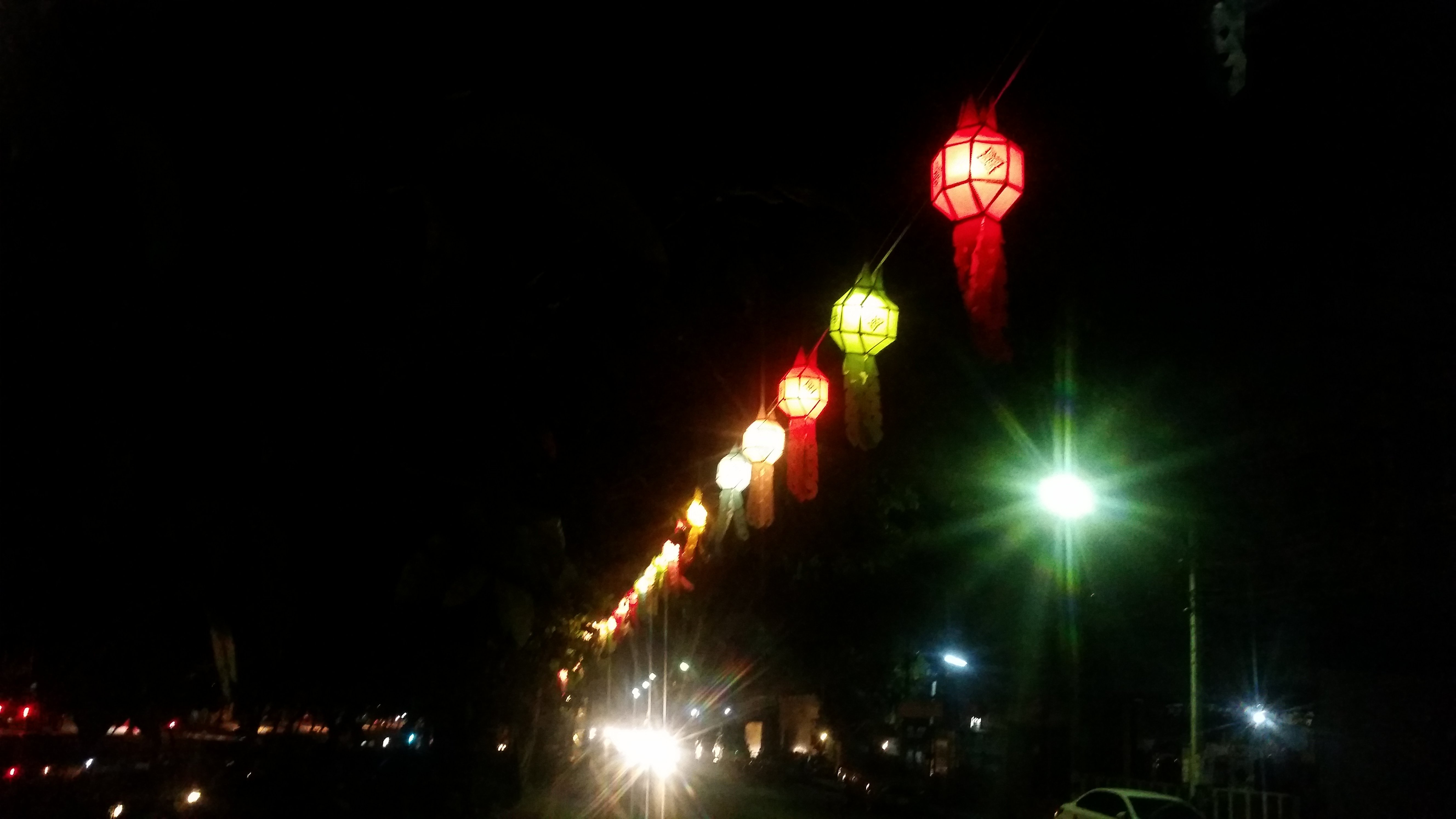Paper lanterns line the moat during the festival.