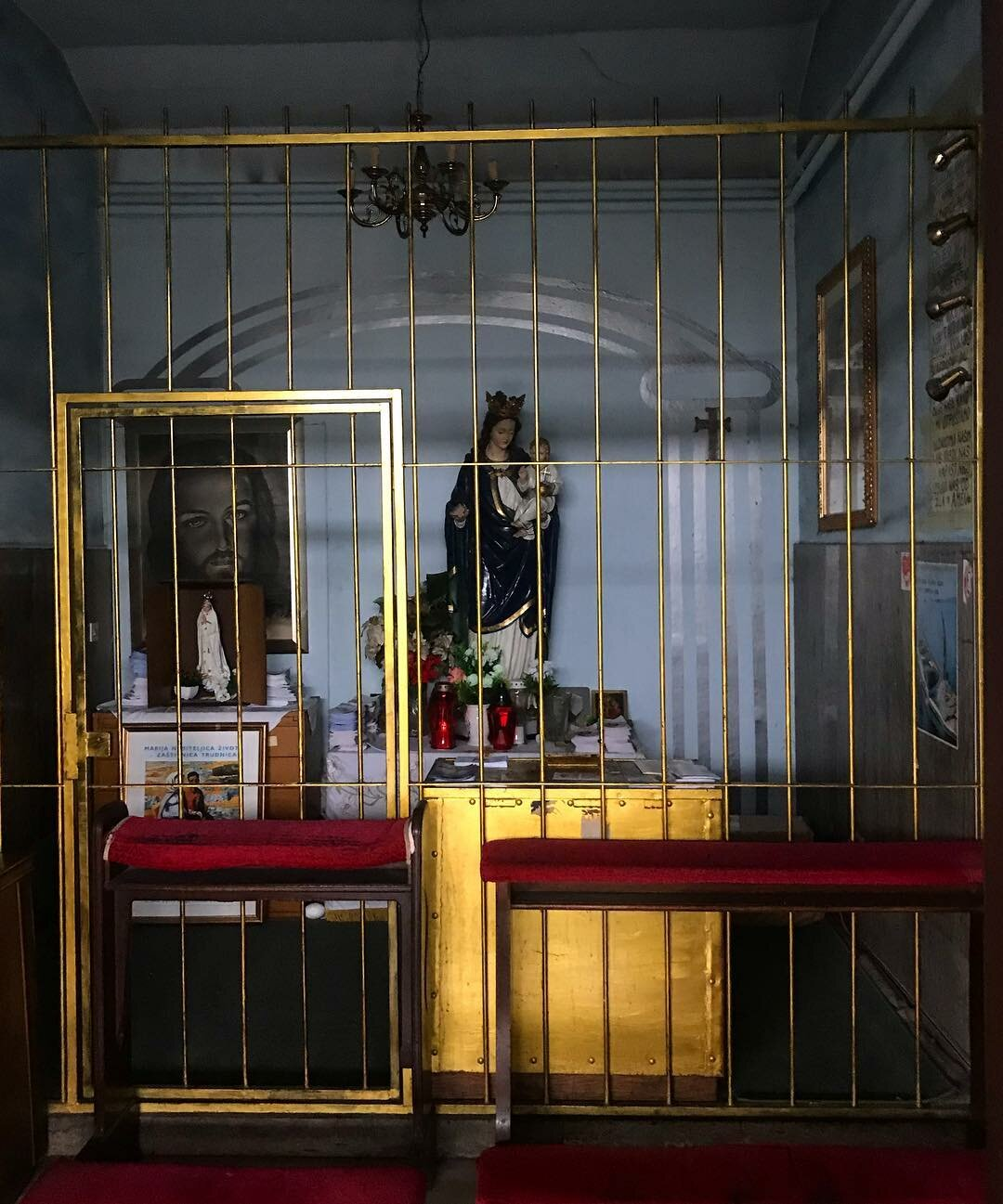 A shrine to Jesus, located inside the train station.