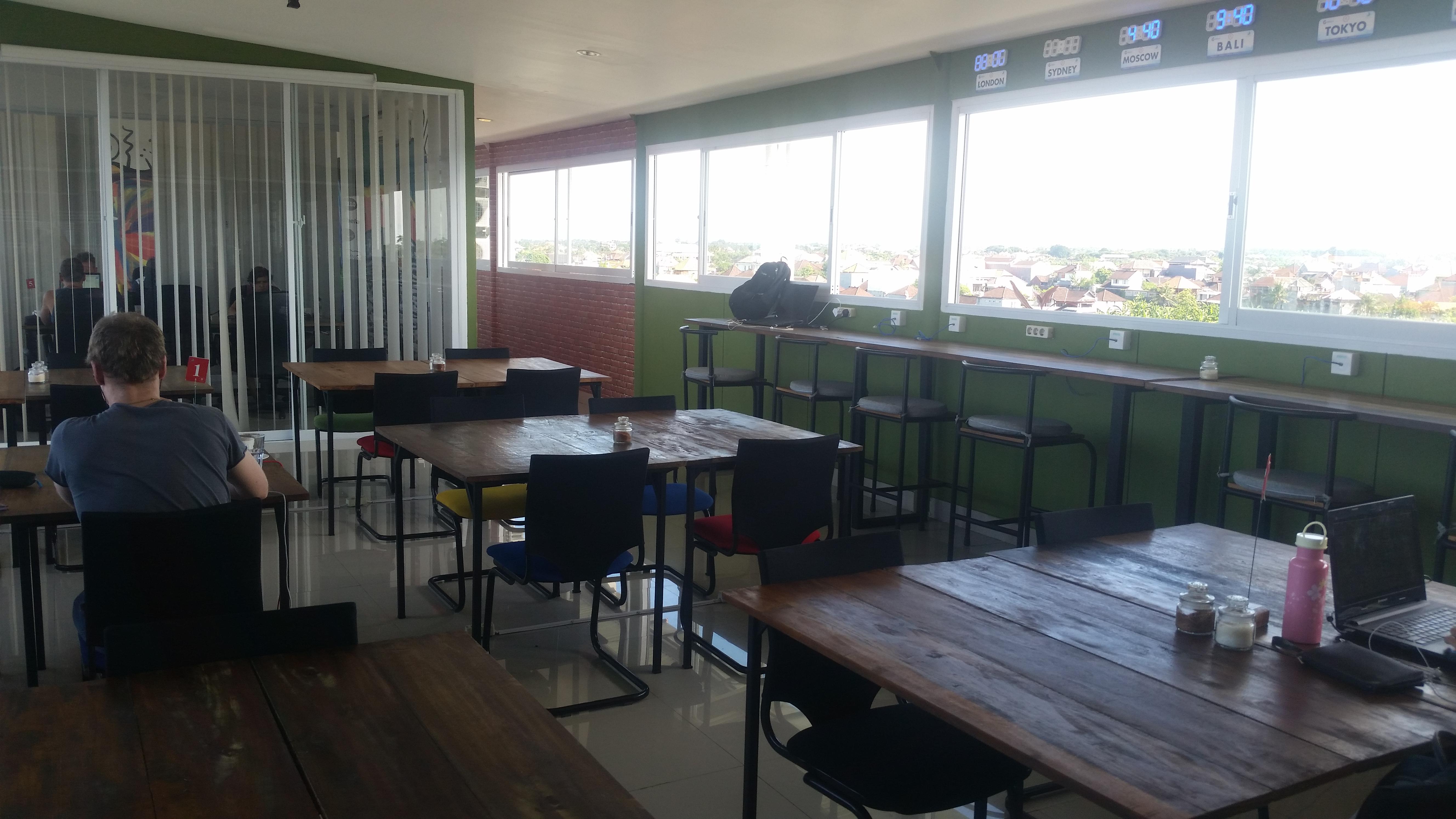 The main room in Matra Co-working Space, Canggu.