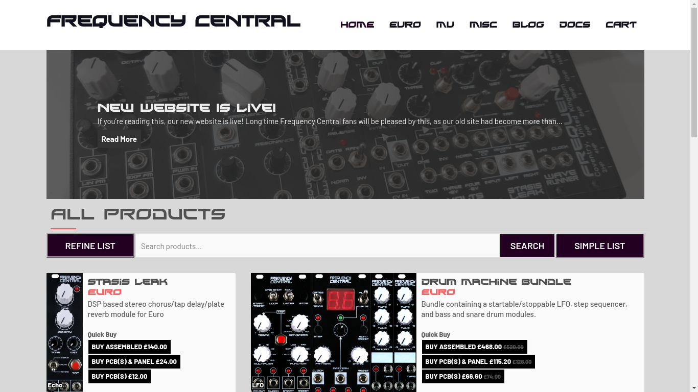 New Frequency Central website design.