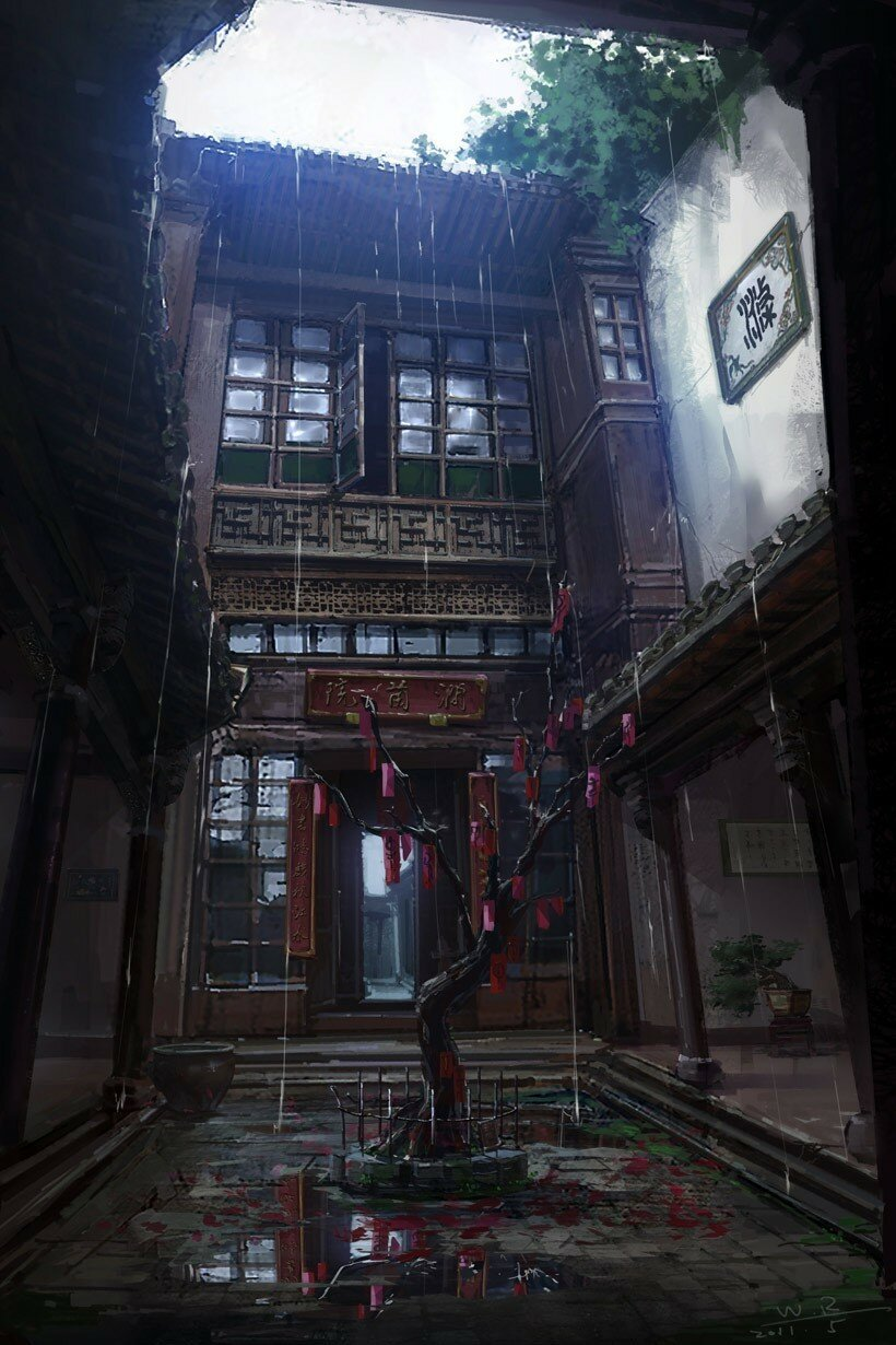 Concept image of an oriental courtyard by Wang Rui.