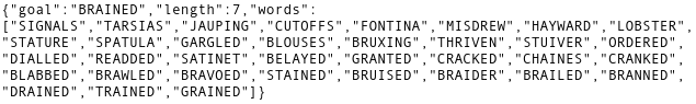 A list of words generated by my Heroku Dyno