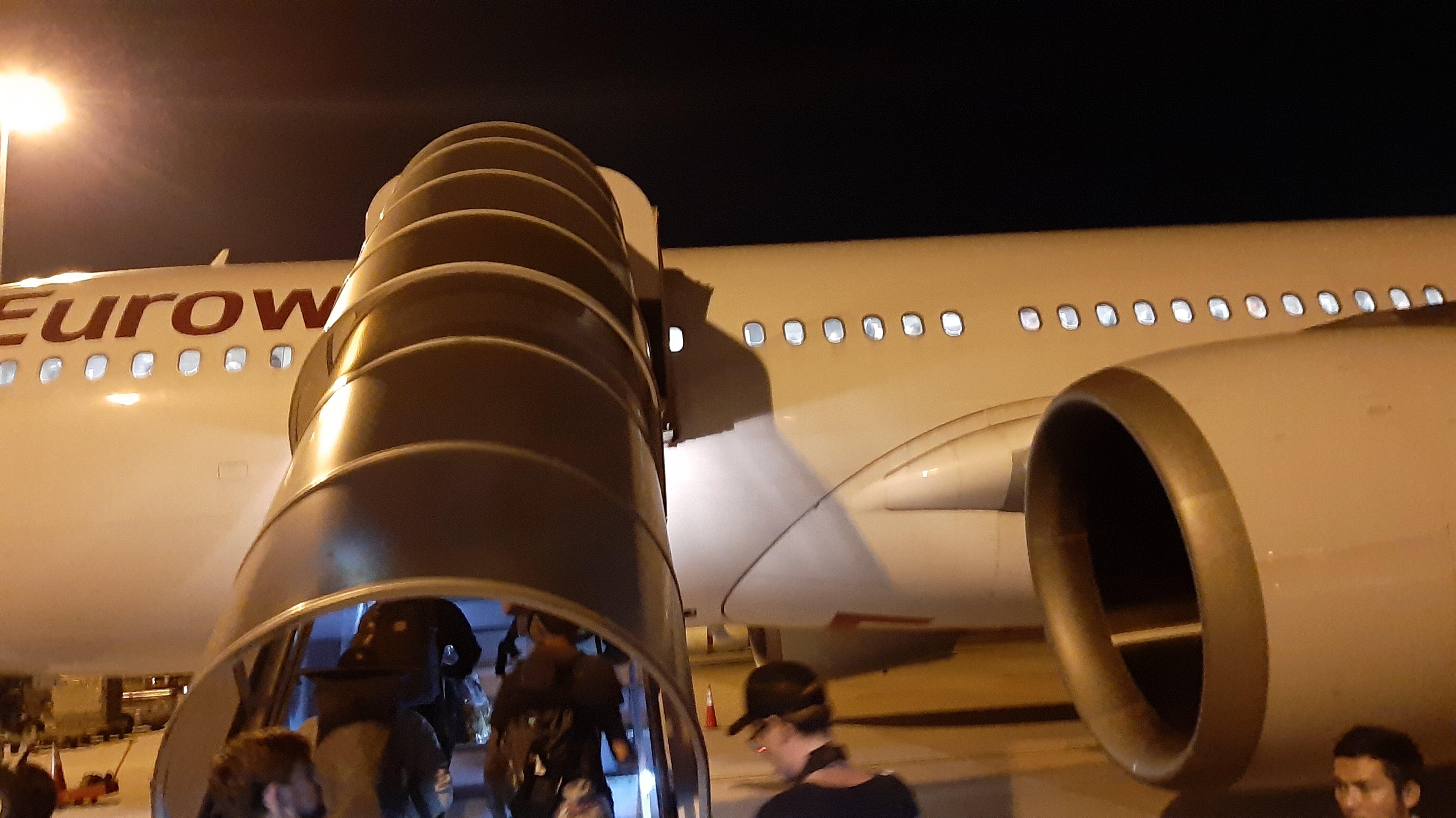 Boarding the Eurowings flight in Bangkok.