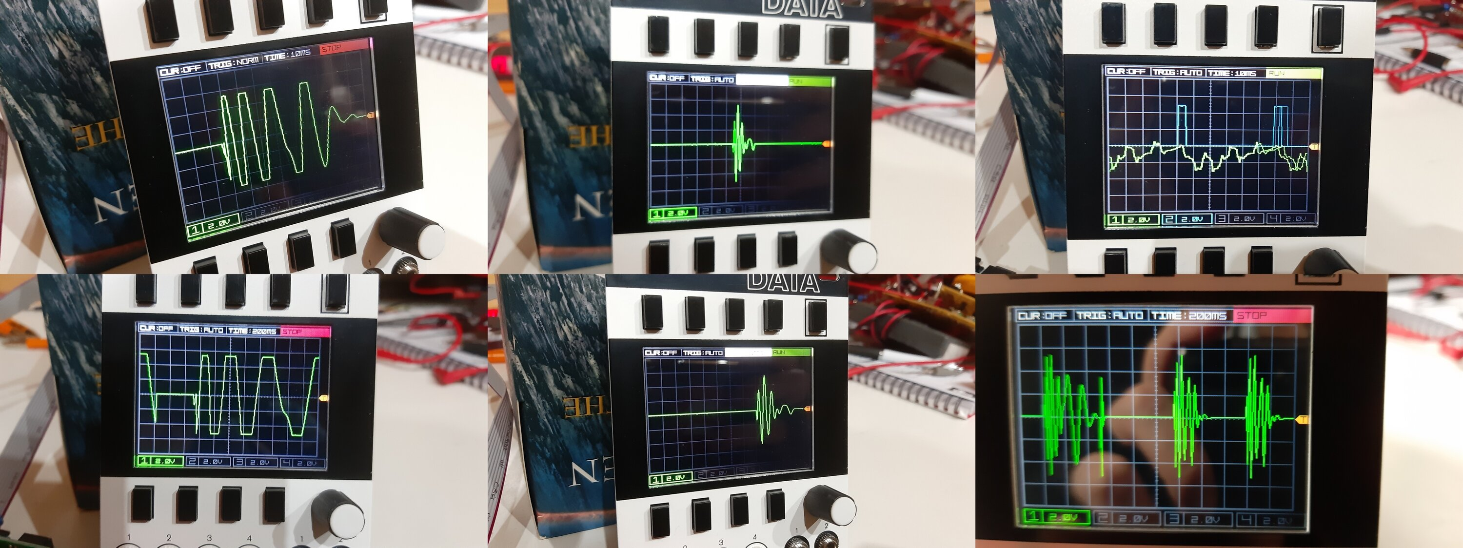 I took dozens of photos of my oscilloscope to try to detect a pattern in the waveform timings.