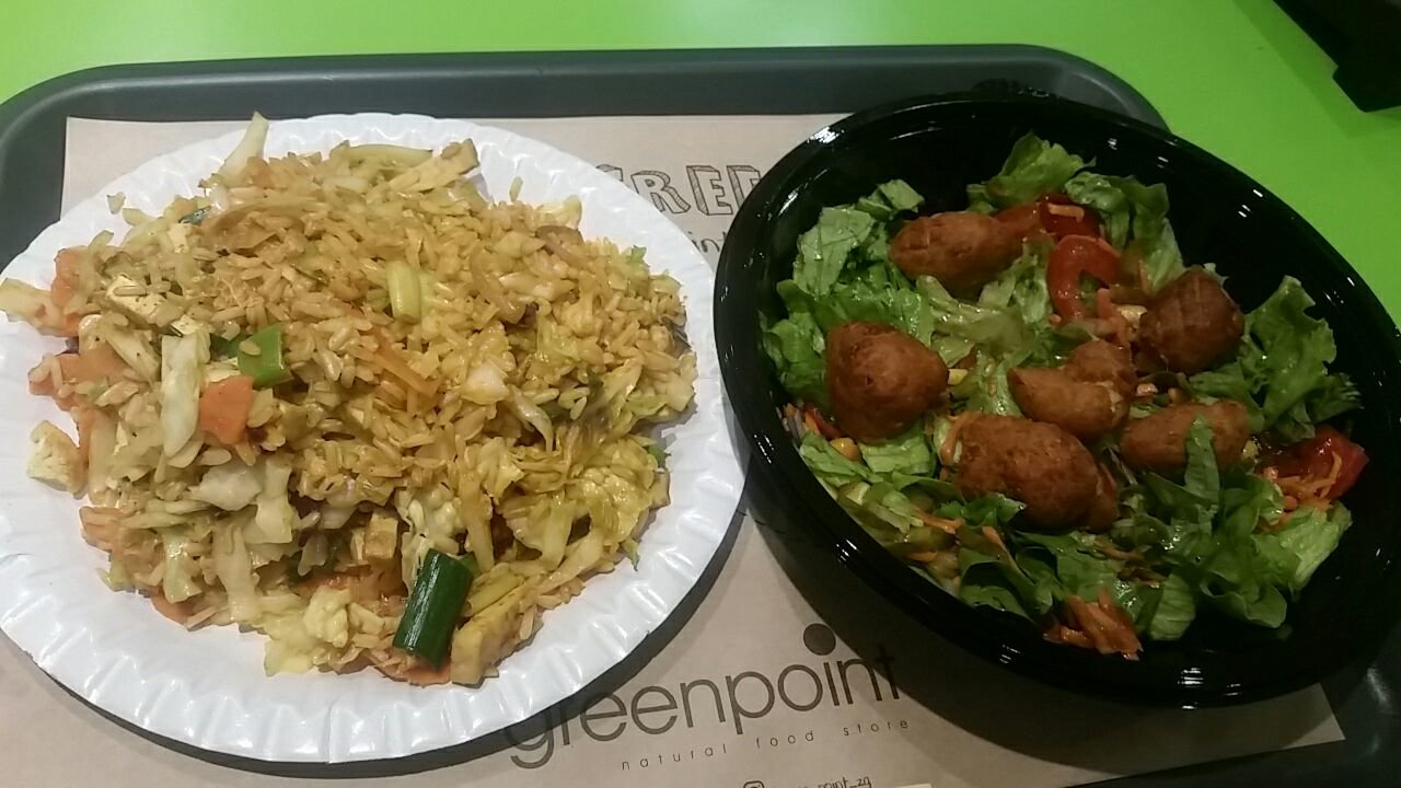 Tasty Wok Tofu Curry with Falafel Salad.