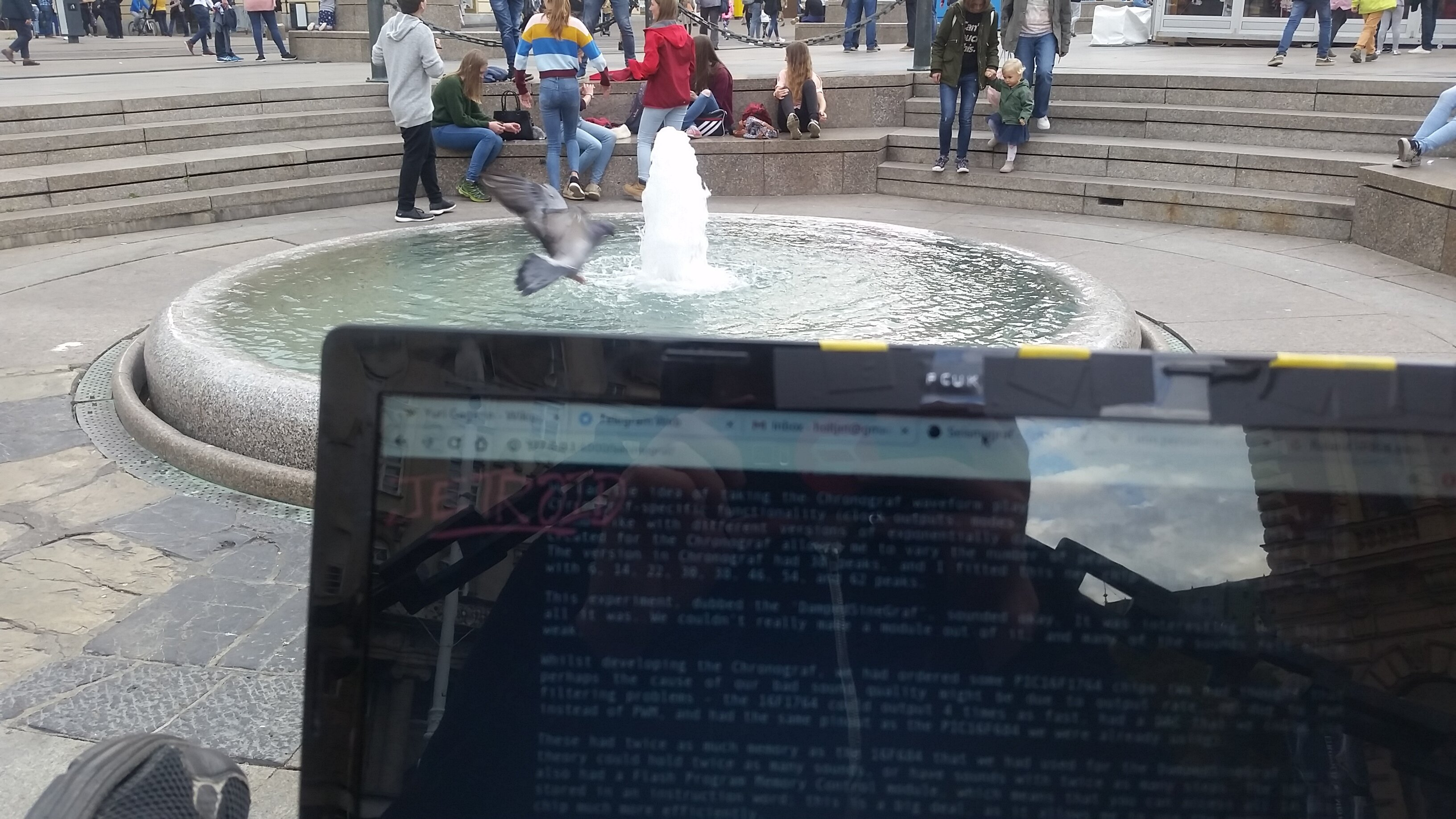 I sat by this fountain so often that I was caught in people's Instagram pictures.